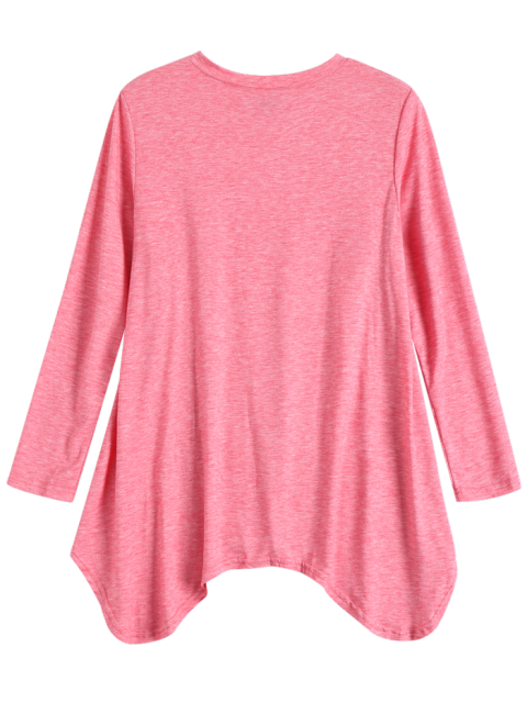 sale Baggy Asymmetric T-Shirt - PINK 2XL Mobile