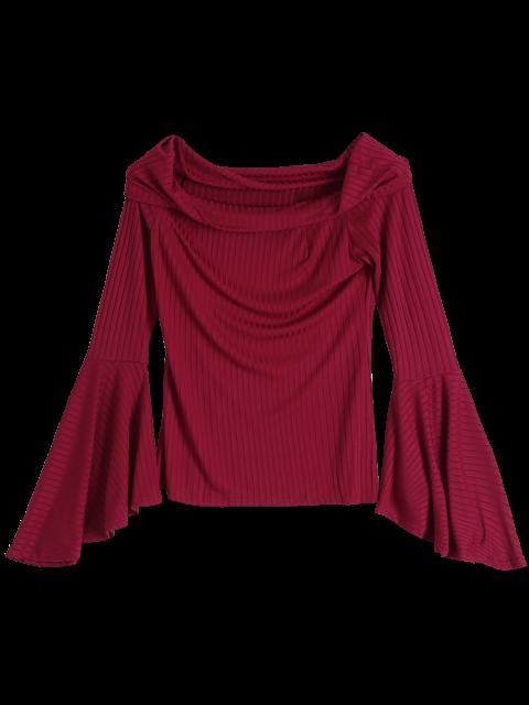 unique Flare Sleeve Off Shoulder T-Shirt - RED 2XL Mobile