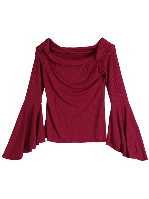 affordable Flare Sleeve Off Shoulder T-Shirt - RED L Mobile