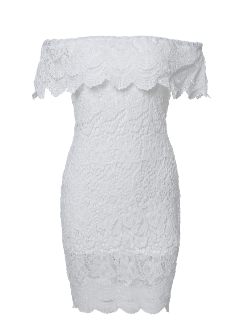 outfits Off The Shoulder Flounce Ruffles Boat Neck Lace Dress - WHITE S Mobile