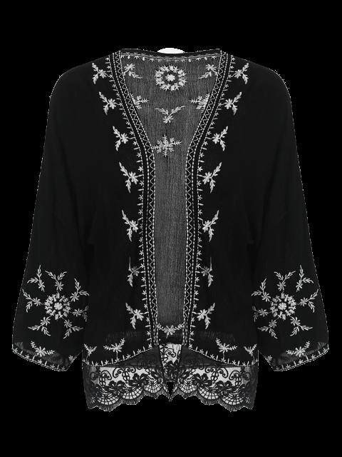 unique Embroidered Kimono - BLACK S Mobile