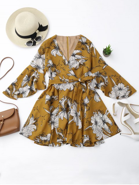 outfits Belted Flare Sleeve Floral Surplice Dress - FLORAL S Mobile