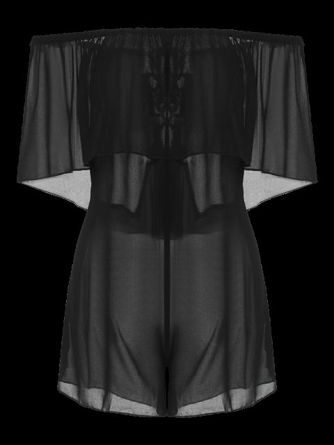 women's See-Through Off the Shoulder Chiffon Dress - BLACK M Mobile