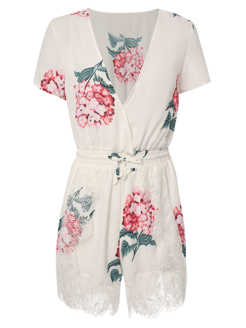 women Floral Print Plunging Neck Short Sleeve Romper - WHITE L Mobile