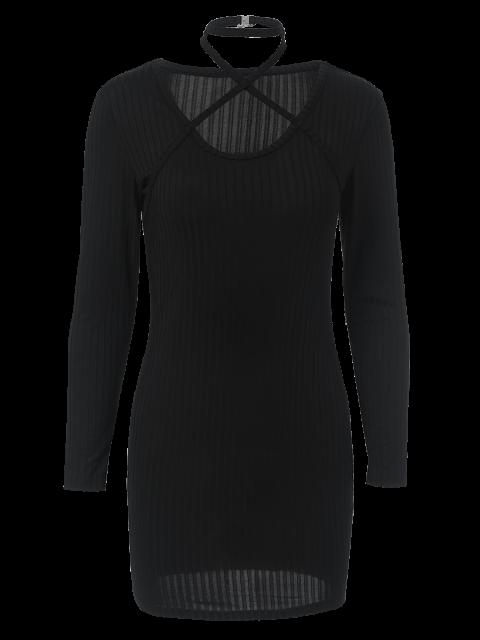 outfit Long Sleeve Black Bodycon Dress - BLACK L Mobile