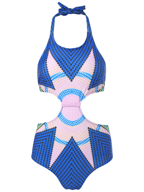 outfit Printed Hollow Out Halter One-Piece Swimwear - BLUE M Mobile