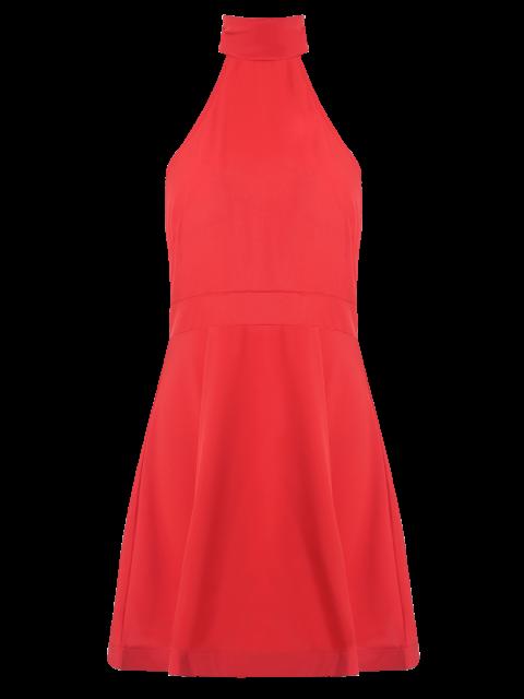 sale Open Back Halter Sleeveless Dress - RED XL Mobile