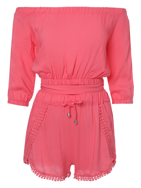 new Off The Shoulder Crop Top and Solid Color Shorts Suit - PINK S Mobile