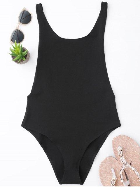 buy Skinny Sleeveless Backless Bodysuit - BLACK S Mobile