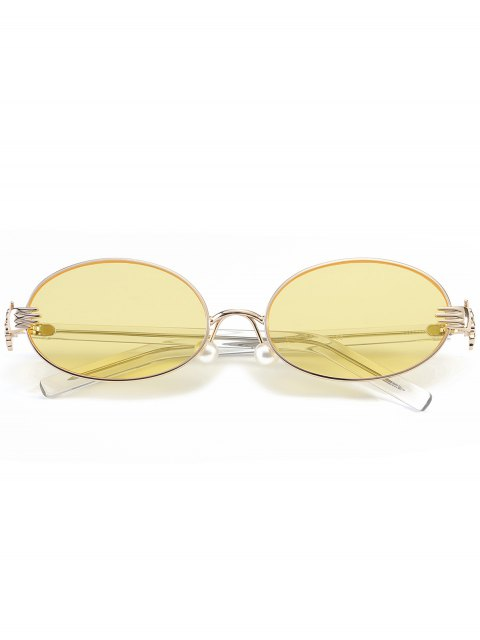 best Metal Hand Faux Pearl Nose Pad Oval Sunglasses - YELLOW  Mobile
