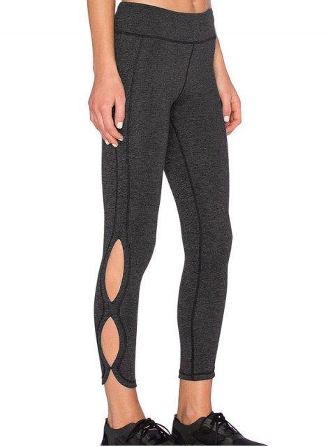 lady Sporty Cutout Tight Fit Leggings - DEEP GRAY L Mobile