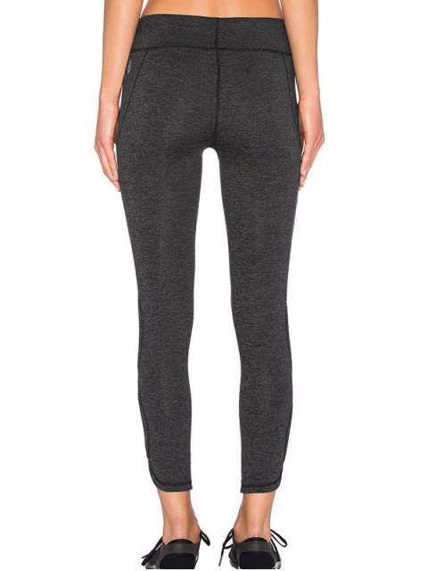 online Sporty Cutout Tight Fit Leggings - DEEP GRAY S Mobile