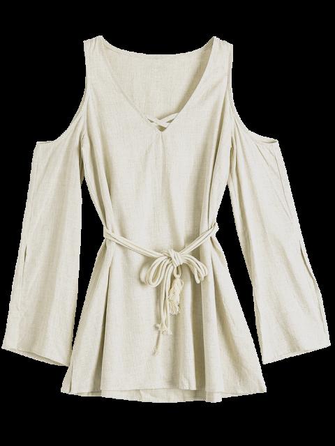 shops Cold Shoulder Split Sleeve Dress - OFF-WHITE 2XL Mobile