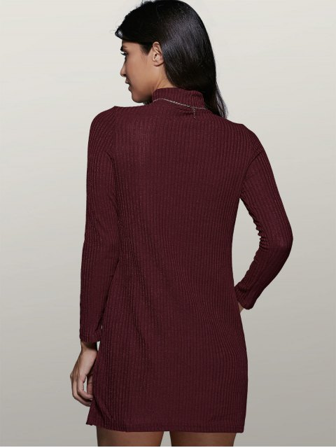 outfit Mini A Line Long Sleeve Sweater Dress - WINE RED M Mobile