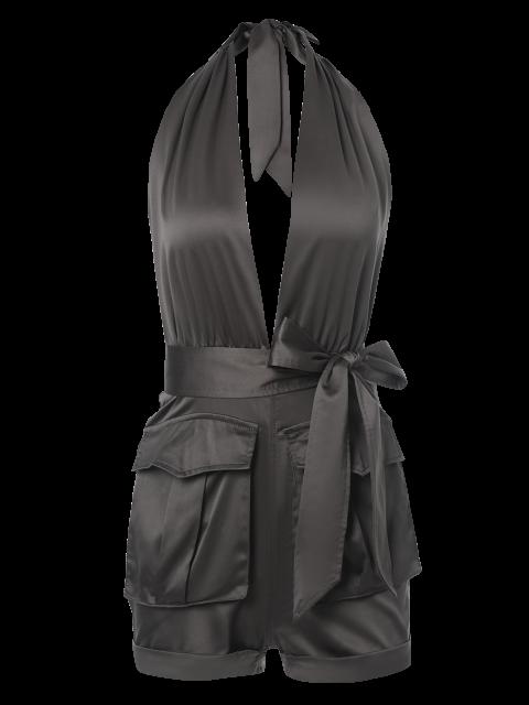 unique Halter Backless Big Pocket Romper - BROWN M Mobile