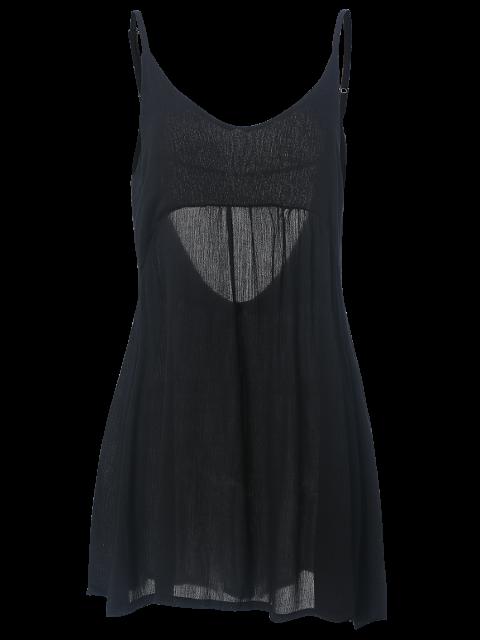 trendy Black Flared Cami Dress - BLACK L Mobile