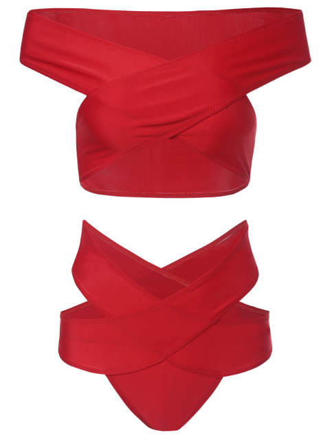 shops Cut Out Off The Shoulder Bandage Bikini - RED L Mobile