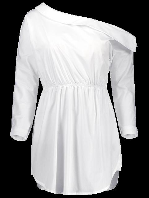 affordable Belted One Shoulder Dress - WHITE 2XL Mobile