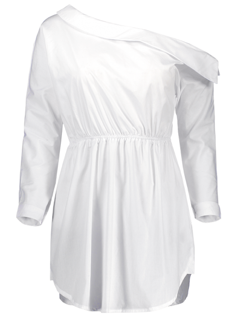 women Belted One Shoulder Dress - WHITE M Mobile