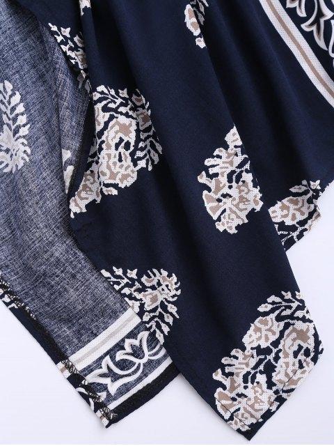 new Collarless Leaf Kimono Duster Coat - DEEP BLUE S Mobile