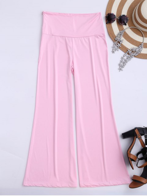 women Soft High Waisted Palazzo Pants - PINK S Mobile