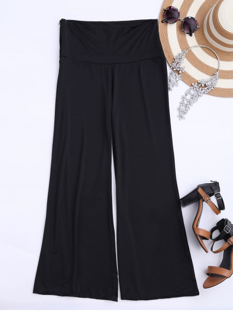 hot Soft High Waisted Palazzo Pants - BLACK L Mobile