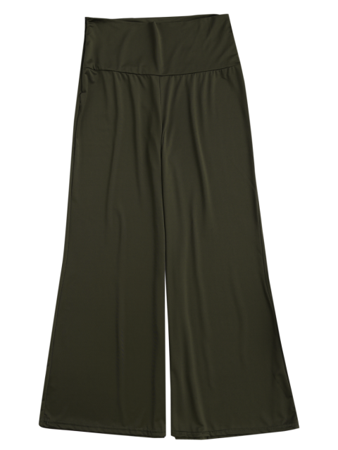 shops Soft High Waisted Palazzo Pants - ARMY GREEN XL Mobile