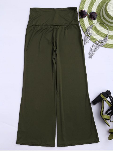 trendy Soft High Waisted Palazzo Pants - ARMY GREEN M Mobile