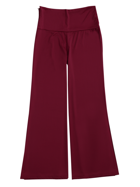 unique Soft High Waisted Palazzo Pants - WINE RED L Mobile