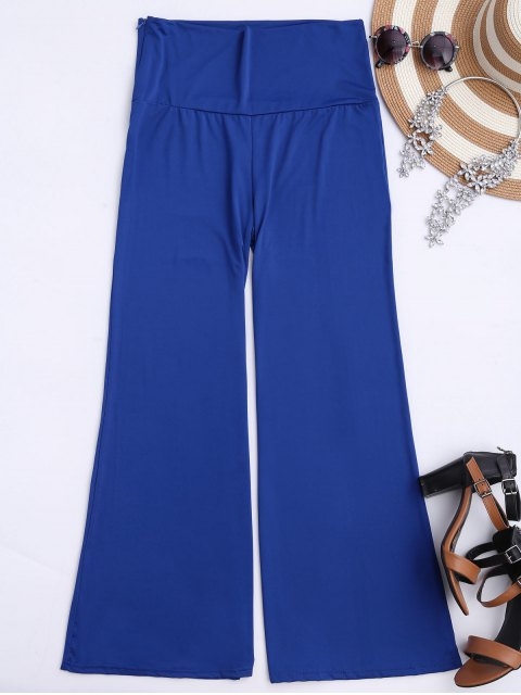 womens Soft High Waisted Palazzo Pants - ROYAL XL Mobile