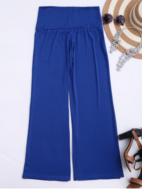 women's Soft High Waisted Palazzo Pants - ROYAL M Mobile