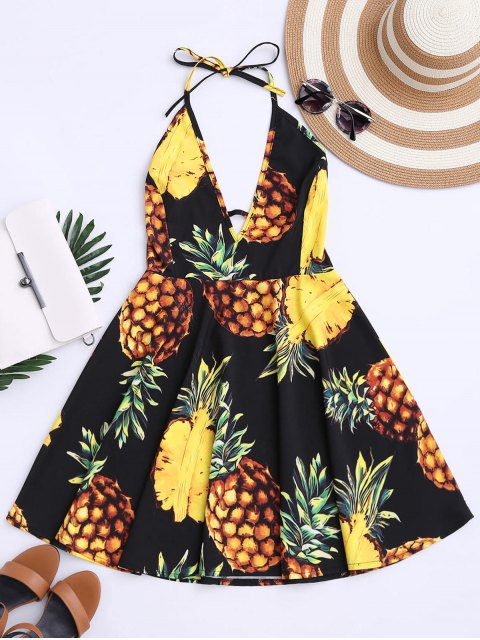 sale Tropical Pineapple Halter Swing Dress - BLACK XL Mobile
