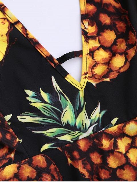 affordable Bohemian Pineapple Halter Swing Dress - BLACK 2XL Mobile