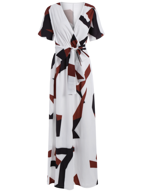 fancy Short Sleeve Loose Maxi Dress - WHITE S Mobile
