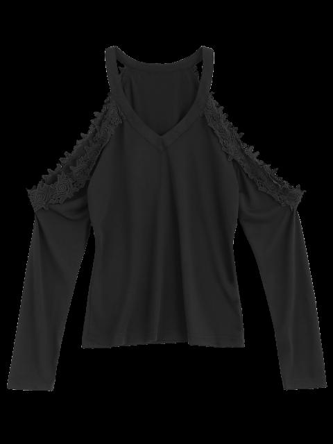 women Lace Trim Cold Shoulder Tee - BLACK S Mobile
