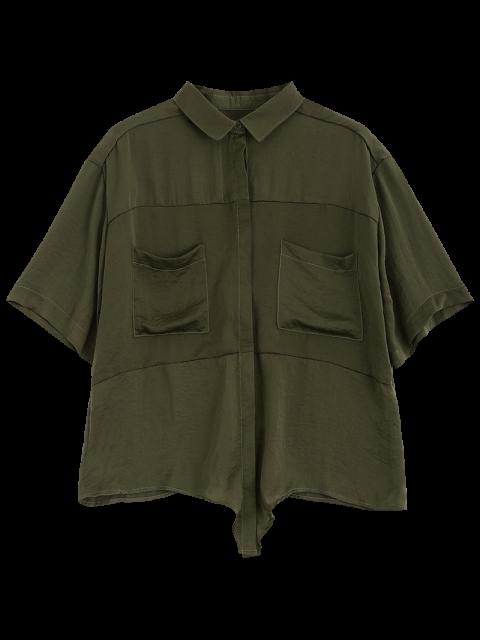 unique Front Knot Pocket Shirt - GREEN XL Mobile