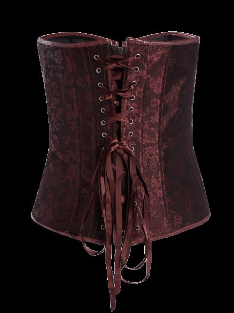 unique Lace Splice Beam Women's Croset - DARK RED M Mobile