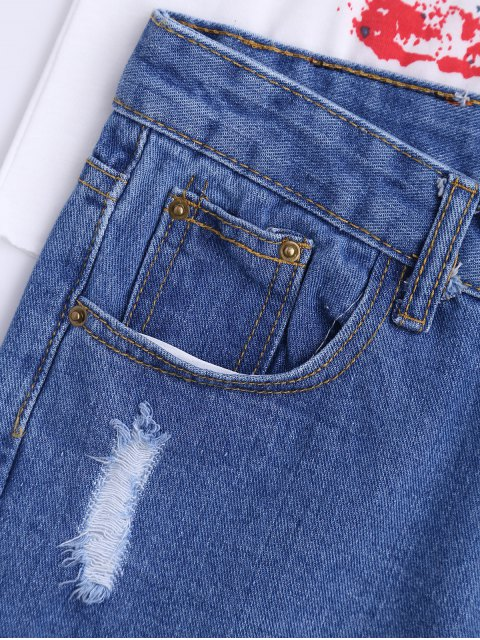 chic High Waisted Curled Hem Ripped Denim Shorts - BLUE M Mobile
