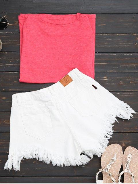 online Wide Leg Frayed Hem Denim Shorts - WHITE S Mobile
