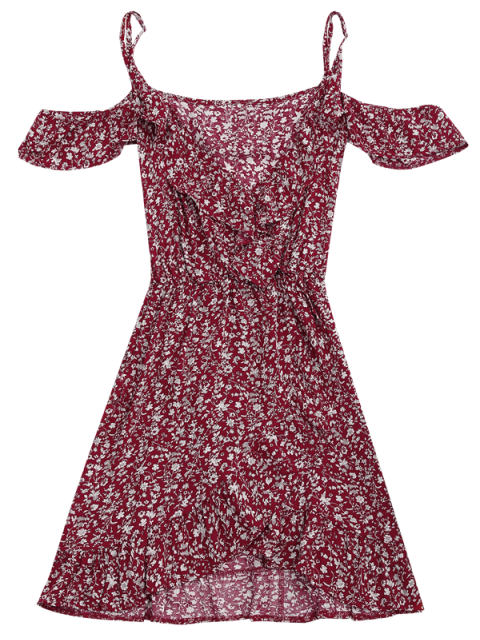 lady Tiny Floral Crossover Cold Shoulder Dress - RED S Mobile