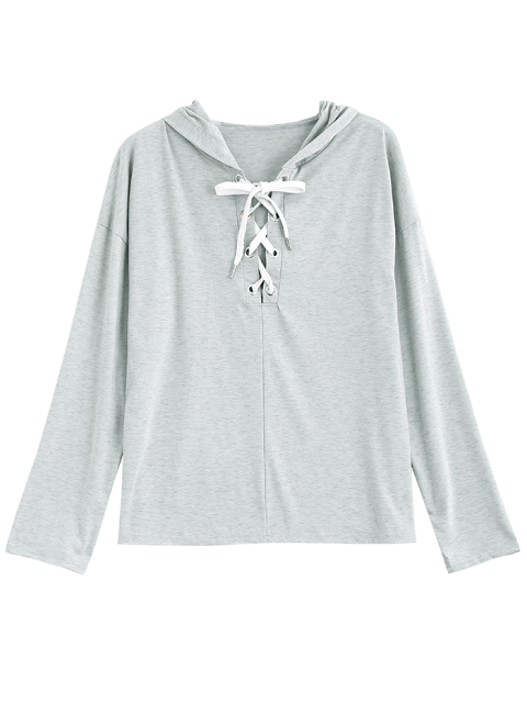fashion Long Sleeve Lace Up Hooded T Shirt - GRAY M Mobile