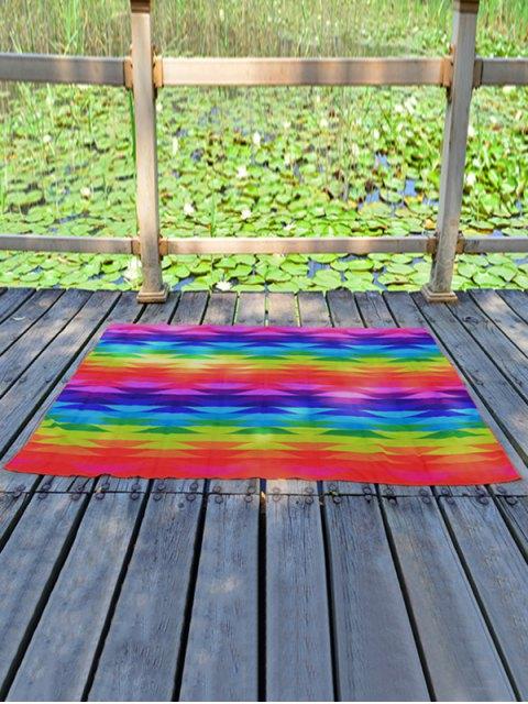 womens Geometric Rainbow Striped Printed Chiffon Beach Throw - COLORFUL  Mobile