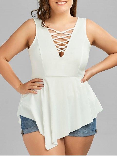 lady V Neck Crisscross Asymmetrical Plus Size Top - WHITE 2XL Mobile