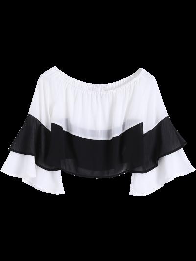 Bell Sleeve Off Shoulder Color Block Blouse от Zaful.com INT