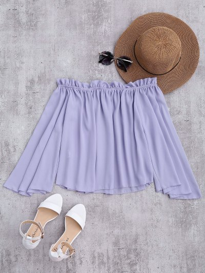 Chiffon Off The Shoulder Ruffles Blouse - Light Purple S