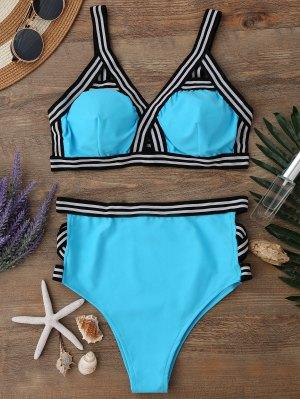 High Waisted Spaghetti Straps Bikini Set - Water Blue S