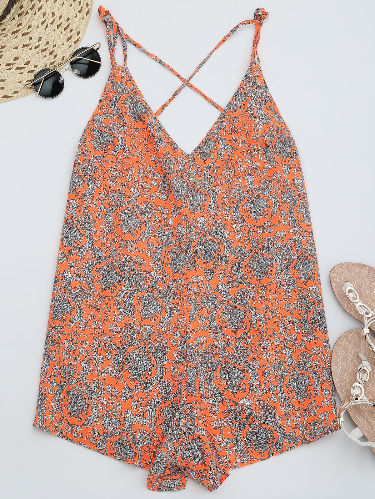 Printed Strappy Wide Leg Romper, Bright orange