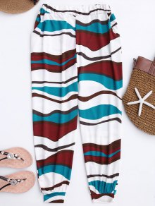 Soft Colorful Zebra Pattern Slouchy Pants