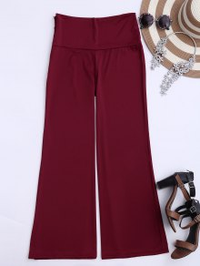 Soft High Waisted Palazzo Pants - Wine Red Xl