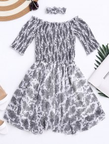 Off Shoulder Shirred Waist Paisley Choker Dress
